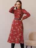 Терракотовое платье с рюшами по полочке и юбкой-трапецией 52860, фото 4