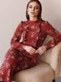 Терракотовое платье с рюшами по полочке и юбкой-трапецией 52860, фото 5