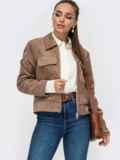 Жакет из замшевой ткани с накладными карманами бежевый 50854, фото 1