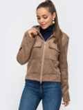 Жакет из замшевой ткани с накладными карманами бежевый 50854, фото 2