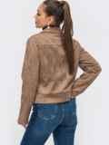 Жакет из замшевой ткани с накладными карманами бежевый 50854, фото 3