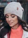 Зимняя шапка с отворотом бежевого цвета 40525, фото 1