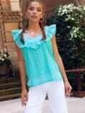 Голубая блузка из прошвы без рукавов с оборкой 54314, фото 3