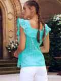 Голубая блузка из прошвы без рукавов с оборкой 54314, фото 4