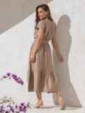 Расклешенное платье бежевого цвета с воланом по низу 49369, фото 2