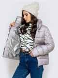 Стёганая куртка с накладными карманами серая 40719, фото 4