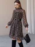 Черное платье из шифона в цветочный принт с воротником-стойкой 52861, фото 2