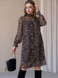 Черное платье из шифона в цветочный принт с воротником-стойкой 52861, фото 4