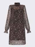 Черное платье из шифона в цветочный принт с воротником-стойкой 52861, фото 6
