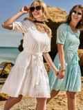 Свободное платье из прошвы с воланом по низу белое 48209, фото 1