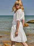 Свободное платье из прошвы с воланом по низу белое 48209, фото 2