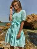Свободное платье из прошвы с воланом по низу зеленое 48207, фото 3