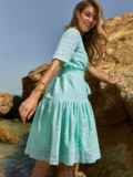 Свободное платье из прошвы с воланом по низу зеленое 48207, фото 4