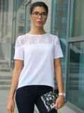 Блузка с кружевной кокеткой белая 10225, фото 2