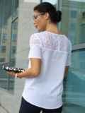 Блузка с кружевной кокеткой белая 10225, фото 3
