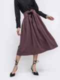 Расклешенная юбка-миди коричневого цвета 45358, фото 1
