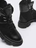 Зимние ботинки из комбинированных материалов черные 51733, фото 3