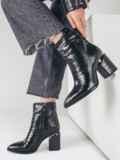 Зимние сапоги чёрного цвета со змеиным узором 51732, фото 1