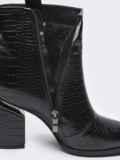 Зимние сапоги чёрного цвета со змеиным узором 51732, фото 3