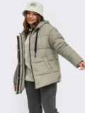 Зимняя куртка мятного цвета с вшитым капюшоном  55601, фото 4