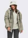 Зимняя куртка мятного цвета с вшитым капюшоном  55601, фото 1