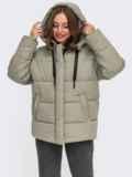 Зимняя куртка мятного цвета с вшитым капюшоном  55601, фото 2