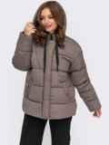 Зимняя куртка коричневого цвета с вшитым капюшоном  55604, фото 3
