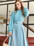 Костюм из блузки и юбки-полусолнце голубой 54809, фото 2