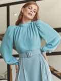 Костюм из блузки и юбки-полусолнце голубой 54809, фото 3