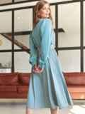 Костюм из блузки и юбки-полусолнце голубой 54809, фото 4