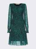 Зеленое платье-трапеция из шифона с принтом 55118, фото 4