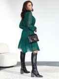 Зеленое платье-трапеция из шифона с принтом 55118, фото 3