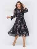 """Чёрное шифоновое платье-миди с вырезом """"капля"""" 44224, фото 1"""