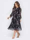 """Чёрное шифоновое платье-миди с вырезом """"капля"""" 44224, фото 3"""