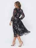 """Чёрное шифоновое платье-миди с вырезом """"капля"""" 44224, фото 4"""