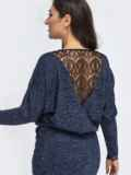 Платье батал в пол с кулиской по талии тёмно-синее 44502, фото 3