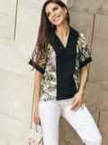 Принтованная блузка с коротким рукавом и отложным воротником черная 54614, фото 2