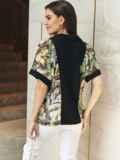 Принтованная блузка с коротким рукавом и отложным воротником черная 54614, фото 3