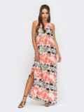 Принтованное платье-макси из поплина с разрезами по бокам красное 53847, фото 3