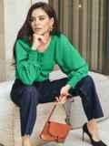 Зеленая блузка из хлопка с длинными объемными рукавами 54610, фото 2