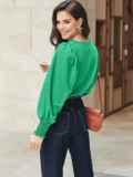 Зеленая блузка из хлопка с длинными объемными рукавами 54610, фото 4