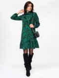 Платье-гольф с принтом и оборкой на полочке зеленое 52940, фото 2