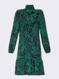 Платье-гольф с принтом и оборкой на полочке зеленое 52940, фото 5