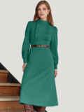 Платье с оборками и юбкой-трапецией зеленое 55053, фото 1