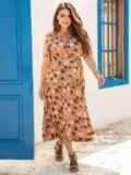 Расклешенное платье батал с цветочным принтом коричневое 54388, фото 2