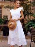 Расклешенное платье из прошвы с открытой спиной белое 54371, фото 1