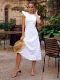 Расклешенное платье из прошвы с открытой спиной белое 54371, фото 2