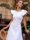 Расклешенное платье из прошвы с открытой спиной белое 54371, фото 3