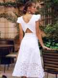 Расклешенное платье из прошвы с открытой спиной белое 54371, фото 4