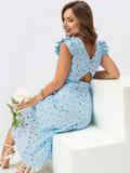 Расклешенное платье из прошвы с открытой спиной голубое 54372, фото 1